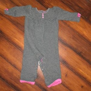 Cozy gray bodysuit with pink accents